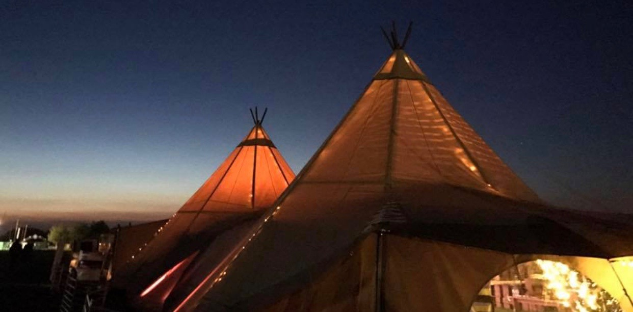 The glorious view from Dylans' Tipi at sunset - the  hub of Meraki's VIP area.